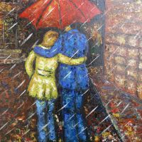 JUST TO WAIKING IN THE RAIN  size:50*65cm